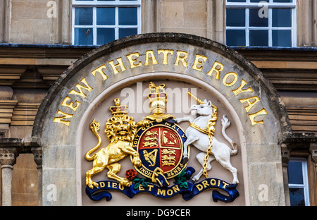 The Royal Coat of Arms above the entrance to the New Theatre Royal in Bath, UK. - Stock Photo