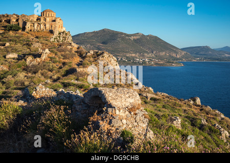Agia Sofia church and the ruined citadel above the old Byzantine town of Monemvasia, in Lakonia, Southern Peloponnese, - Stock Photo