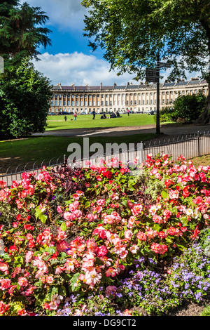 Part of the sweeping Georgian facade of terraced houses in The Royal Crescent, Bath. - Stock Photo