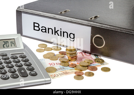 A Binder labeled wit the word Banking, calculator and european currency isolated on white background - Stock Photo