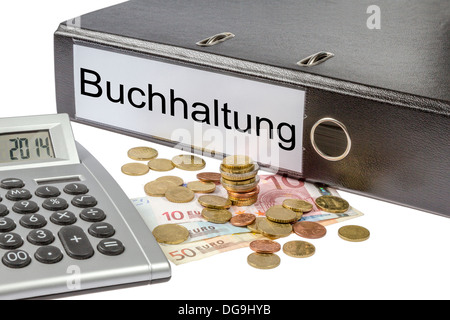 A Binder labeled wit the word Buchhaltung (German Accounting), calculator and european currency isolated on white - Stock Photo