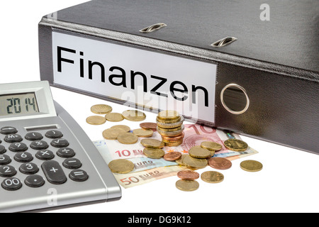 A Binder labeled wit the word Finanzen (German Finances) calculator and european currency isolated on white background - Stock Photo