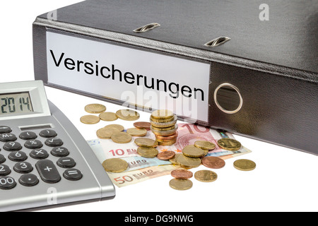 A Binder labeled wit the word Versicherungen (German insurance), calculator and european currency isolated on white - Stock Photo