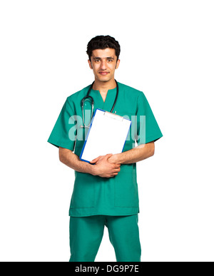 Portrait of doctor Arab nationality with health record on white background - Stock Photo