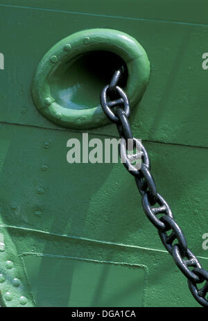 Anchor chain of windjammer ´Rickmer Rickmers´. Hamburg, Germany - Stock Photo