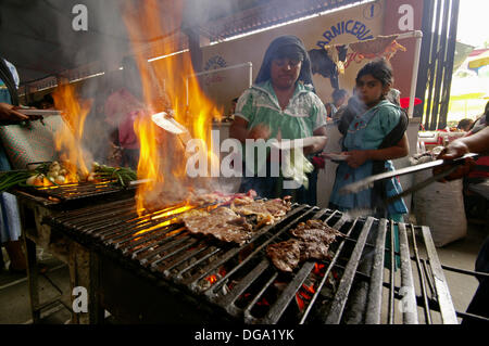 Meat Market, Tlacolula.Oaxaca.México. - Stock Photo