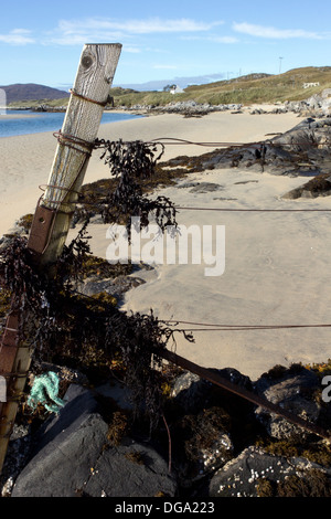 Old Fencepost at Luskentyre beach Isle of Harris Western Isles Scotland UK - Stock Photo