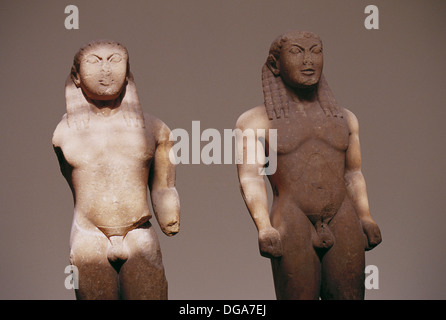 Kleobis and Biton (610-600 B.B.) in the Delphi Archaeological Museum, Greece - Stock Photo