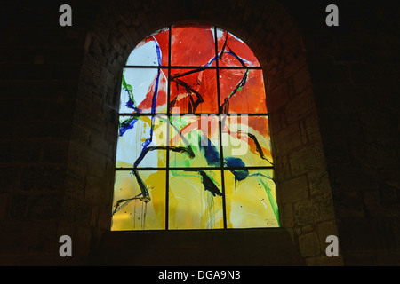 contemporary stained glass ( made by Father Kim En Joong 2007/2008 ) Saint Julien church Brioude Auvergne Massif - Stock Photo