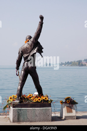 a statue of famous musician Freddie Mercury in Montreux where the artist spent a lot of time and had recording studio, - Stock Photo