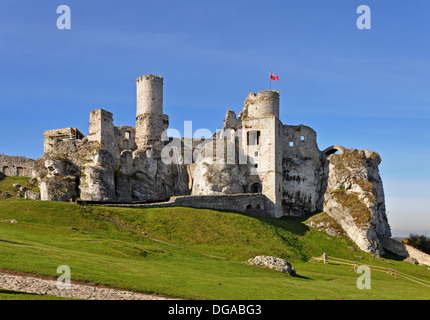 The ruins of medieval castle on the rock in Ogrodzieniec in Poland - Stock Photo