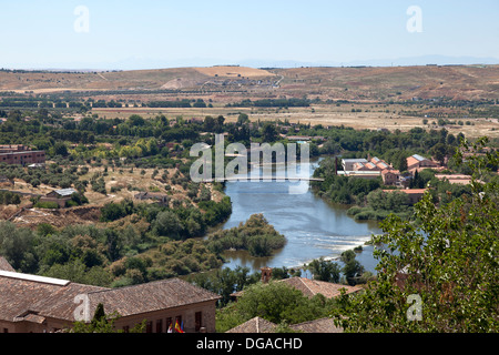 View on the river Tagus from Toledo, Spain - Stock Photo