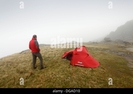 Wild Camping on Glyder Fach in Low Cloud. Snowdonia National Park. Conwy. Wales. UK. - Stock Photo