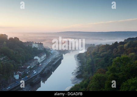 River Avon at Hotwells with South Bristol shrouded in mist beyond. Bristol. England. UK. - Stock Photo