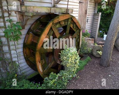 Mock Water Wheel, Garden Feature, Bedfordshire, UK Stock ...