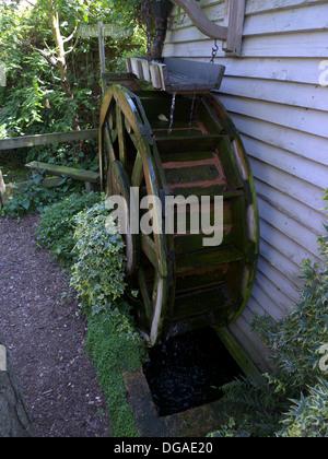 Mock Water Wheel, Garden Feature, Bedfordshire, UK   Stock Photo
