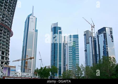 construction a modern Skyscrapers, kuwait city - Stock Photo