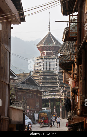 Drum Tower, Zhaoxing, Guizhou, China - Stock Photo