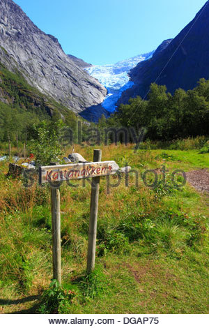 View of Briksdalsbreen (English: the Briksdal glacier) is one of the  arms of the Jostedalsbreen glacier, In Norway - Stock Photo