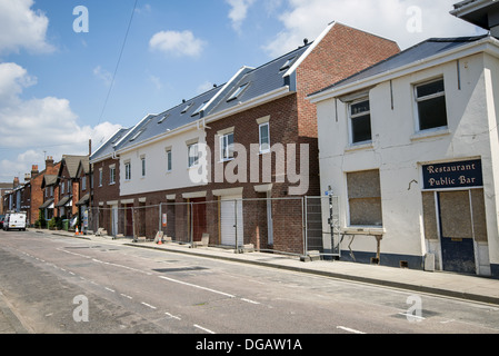 Row of newly built terraced houses in Southampton, England, UK - Stock Photo