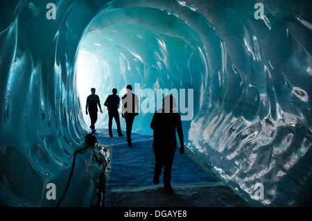 People in the Grotte de Glace ice tunnel at Montenvers Chamonix France