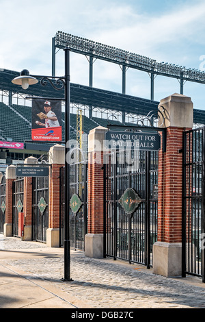 The rear side of Oriole Park Baseball Stadium at Camden Yards in Baltimore, Maryland. Home of the Baltimore Orioles. - Stock Photo