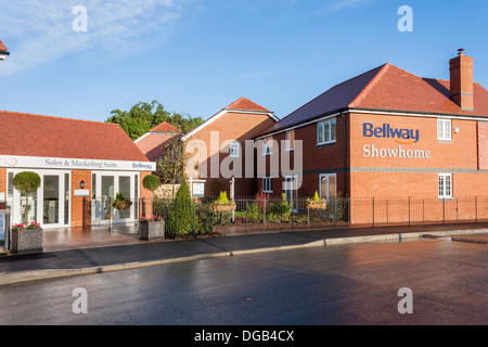 Bellway show home and sales centre at a new house build housing estate in 2013. Reading, Berkshire, South East England, - Stock Photo