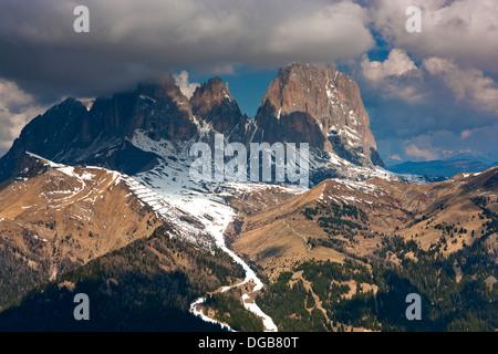 Sella pass and the Langkofel mountains Sasso Lungo from Col dei Rossi, Pecol near Canazei, Trentino-Alto Adige, - Stock Photo