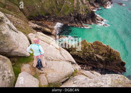 Aquamarine seas in a cove near Bosigran, Cornwall, UK. - Stock Photo