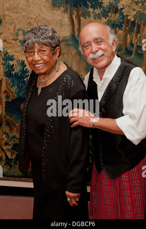White man and black woman friends posing for a friendship portrait. St Paul Minnesota MN USA - Stock Photo