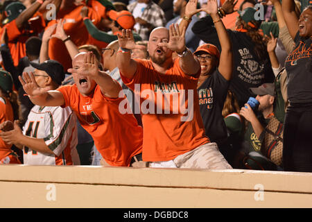 Chapel Hill, NC, USA. 17th Oct, 2013. October 17, 2013: Fans of the Miami Hurricanes cheer during the NCAA Football - Stock Photo