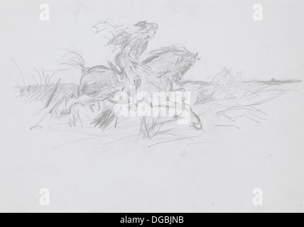 sketch in pencil technique of a man riding a horse on a field - Stock Photo