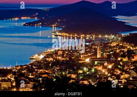 Town of Mali Losinj bay at sunset, Croatia, Dalamatia - Stock Photo