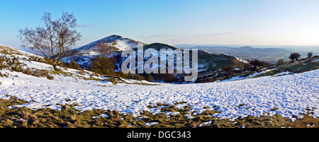 Snow covered Malvern Hills looking south from North Hill - Stock Photo
