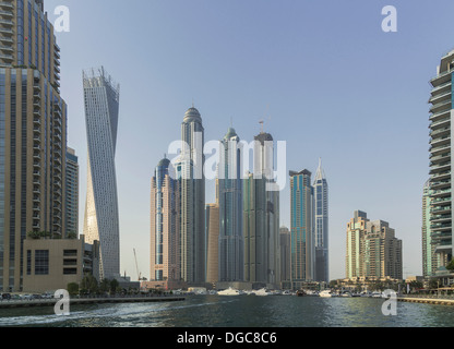 Skyscrapers in Dubai marina, Dubai, United Arab Emirates - Stock Photo