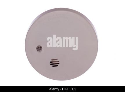Smoke alarm isolated on a white background - Stock Photo