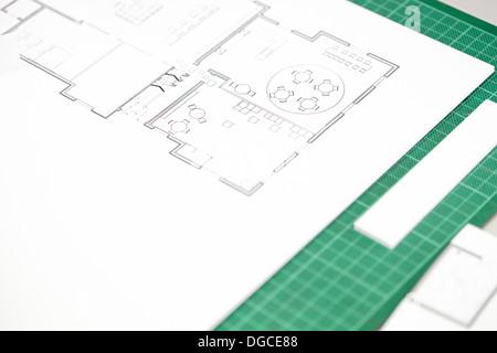 Interior view of design classroom stock photo 162895245 alamy close up of interior design blueprint on cutting mat stock photo malvernweather Choice Image