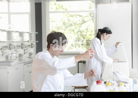 Chemistry students at work in lab - Stock Photo