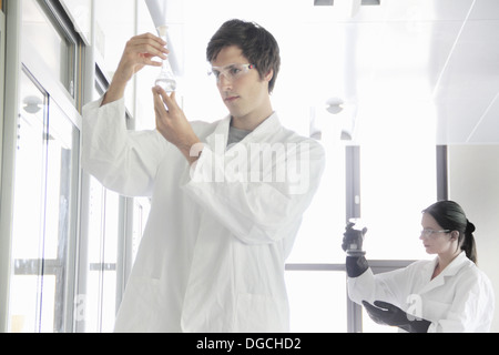 Chemistry students looking at chemicals in lab - Stock Photo