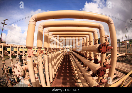 Fuel pipes in oil field - Stock Photo