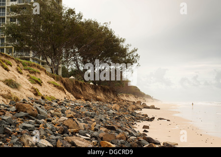 Coastal dune damage after a large storm at Main Beach on Queensland's Gold Coast. - Stock Photo