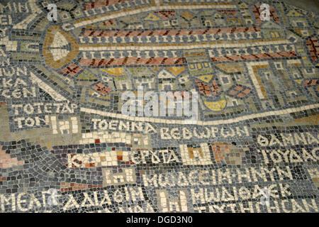 Mosaic map of Holy Land (c. 560) in the Greek Orthodox Basilica of Saint George, Madaba. Jordan - Stock Photo