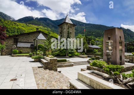 Historic Casa de la Vall, an old house built in 1580, now home to the Andorran Parliament, Andorra la Vella, Andorra - Stock Photo