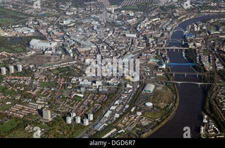 aerial view of Newcastle upon Tyne from 5000' - Stock Photo