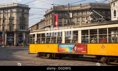 Tram near city centre, Milan, Lombardy, Italy - Stock Photo