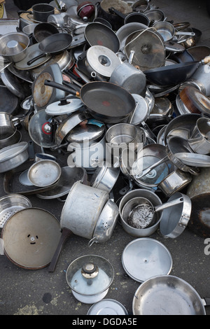 Cooking Pots and Pans on sale at Street Market Deptford London - Stock Photo