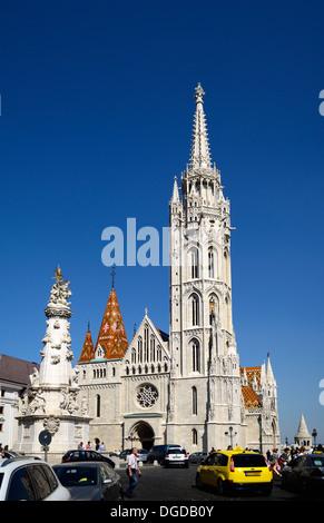 Matthias church on holy trinity square castle district Buda Budapest Hungary Europe - Stock Photo
