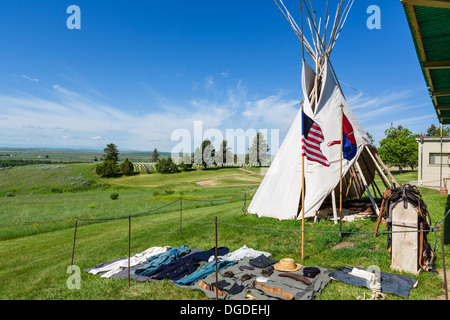 Soldier's kit and Indian Tipi outside the Visitor Center, Little Bighorn Battlefield National Monument, Montana, - Stock Photo