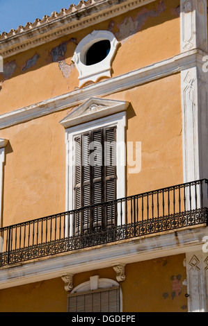 Classic Facade in Colonial Style Building. Ibiza, Spain - Stock Photo