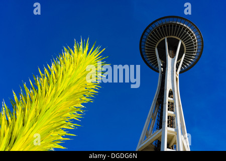Glass sculpture and Space Needle. Chihuly Garden and Glass, Seattle, Washington, USA. - Stock Photo